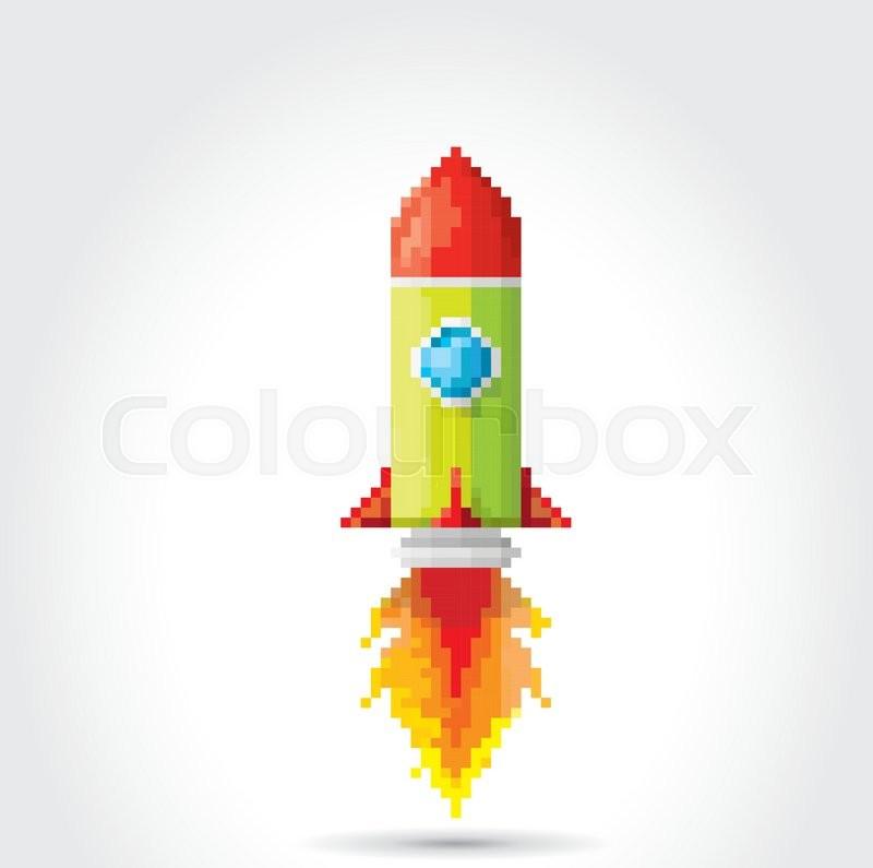 Vector Flat Pixel Art Rocket On White Background. Rocket