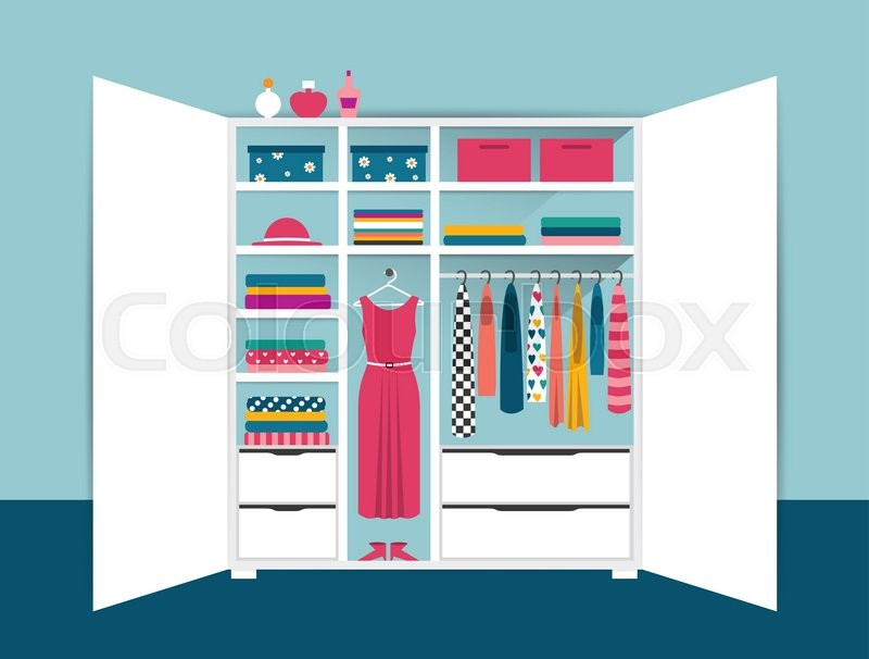 Stock Vector Of Open Wardrobe White Closet With Tidy Clothes Shirts Sweaters
