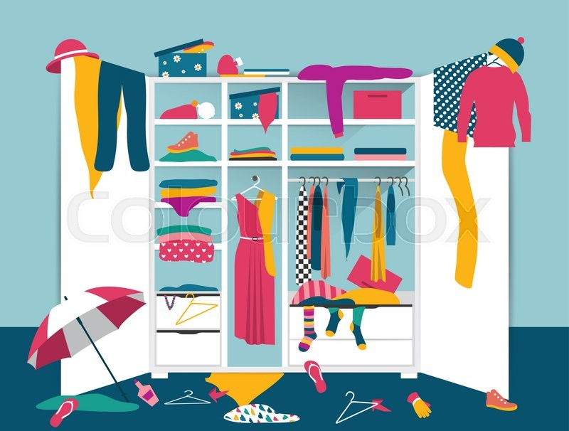 Open Wardrobe White Closet With Untidy Clothes Shirts