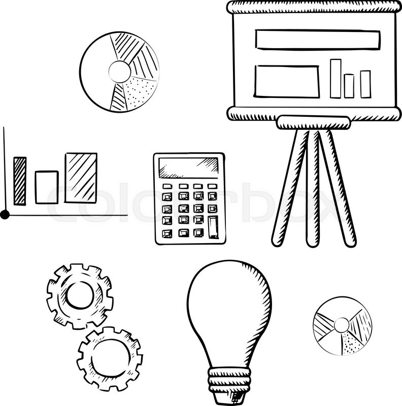Flip chart with graphs pie charts bar graph calculator idea flip chart with graphs pie charts bar graph calculator idea light bulb and gears sketch icons for business report presentation and meeting concept ccuart Gallery