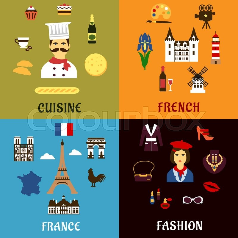 France Travel Tourism Journey And Landscape Flat Icons With French