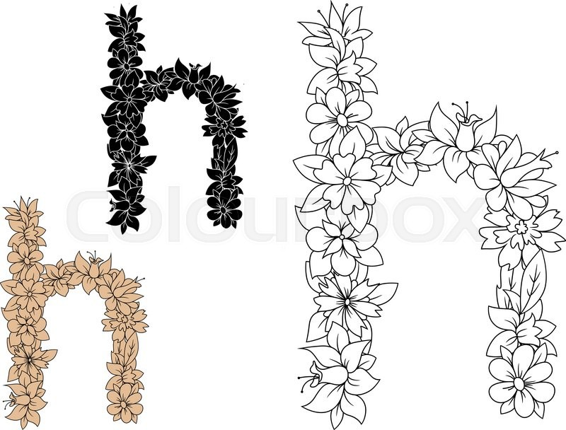 Floral letter h in lowercase font composed of outline spring floral letter h in lowercase font composed of outline spring flowers and leafy branches in colorless brown and black variations vector mightylinksfo Gallery