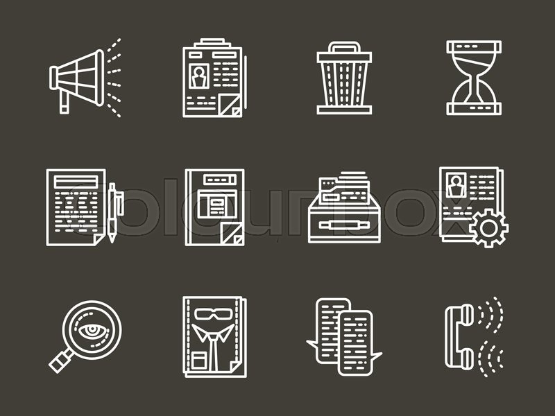 search employee for team career development employee hr set of white simple line headhunting vector icon on black background elements of web design for