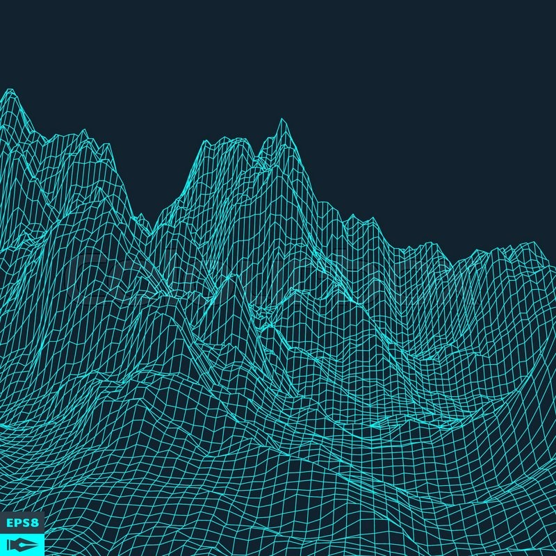 Abstract Vector Landscape Background. Cyberspace Grid. 3d