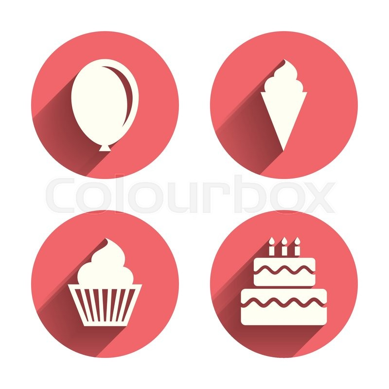 Birthday party icons. Cake with ice cream signs. Air balloon symbol ...