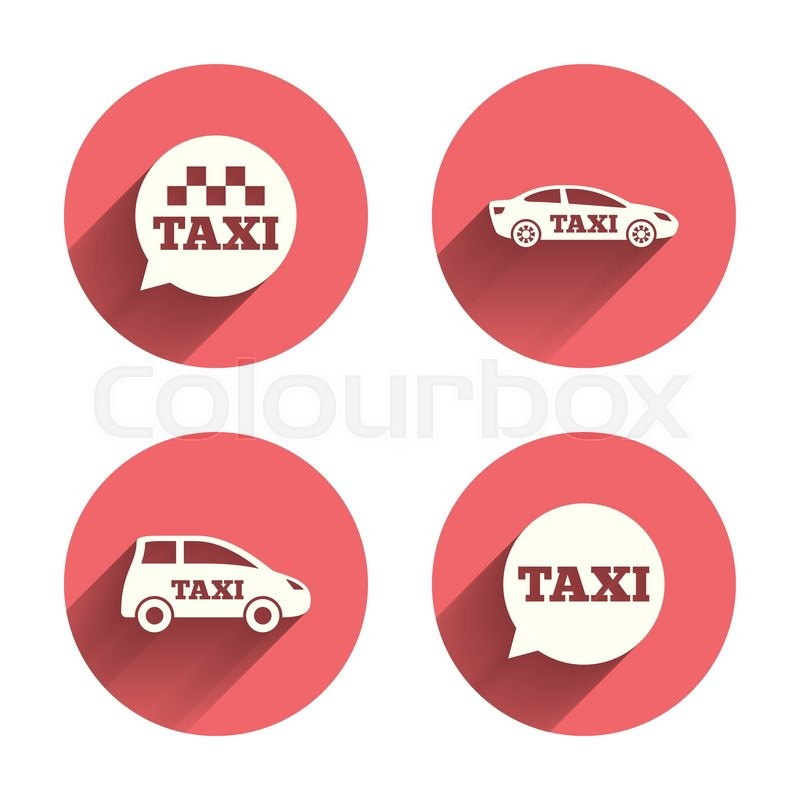 Public transport icons. Taxi speech bubble signs. Car transport symbol. Pink circles flat buttons with shadow. Vector, vector
