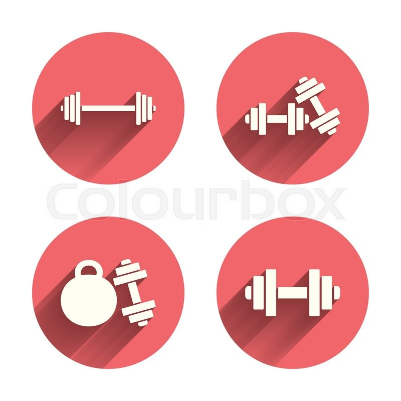 Dumbbells Sign Icons Fitness Sport Symbols Gym Workout Equipment