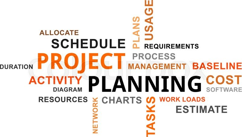 A Word Cloud Of Project Planning Related Items  Stock Vector