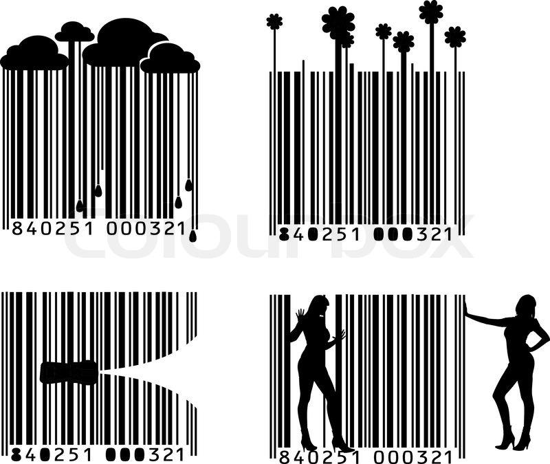 Vier Black And White Barcode -Variationen | Vektorgrafik | Colourbox