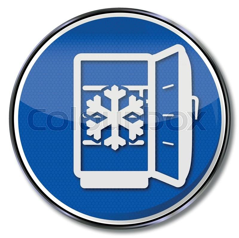 Schild mit Kühlschrank, Eis und abtauen | Vektorgrafik | Colourbox