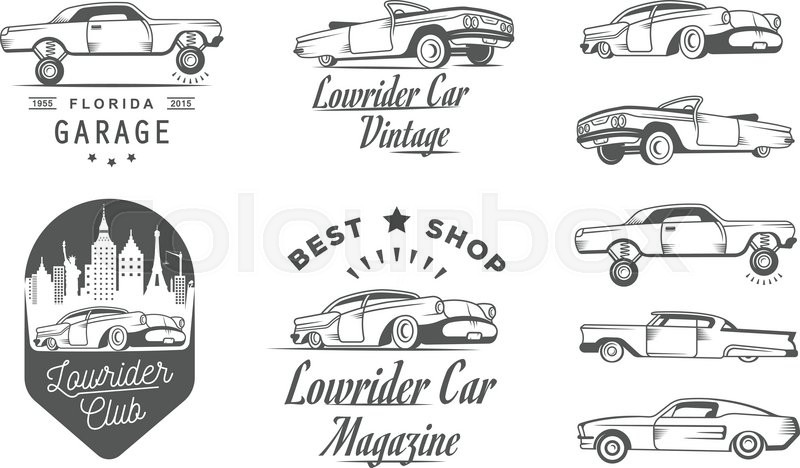 Set Vintage Lowrider Logo Badge Sign Emblems Sticers And Elements Design Collection Black White Classic Retro Old Car Icon