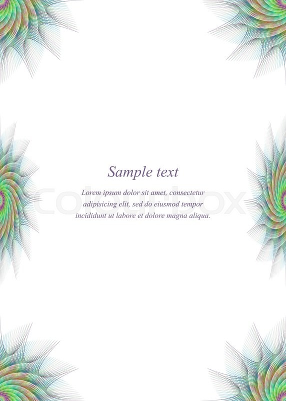 Colorful Fractal Ornament Page Border Design Template Stock Colorful Page Border