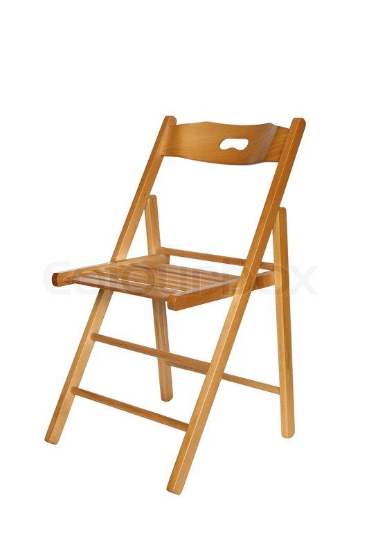 holz klappstuhl auf wei em hintergrund mit clipping pfad stockfoto colourbox. Black Bedroom Furniture Sets. Home Design Ideas