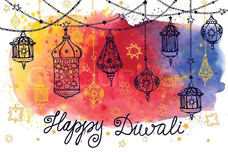 Happy Diwali FestivalTraditional Hanging Lamp In Doodle StyleWatercolor SplashGreeting CardHand Drawig DecorVector Background