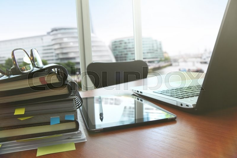 Business documents on office table with smart phone and digital tablet as work space business with social network diagram concept, stock photo