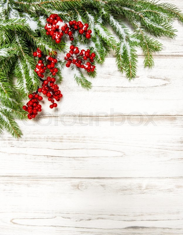 christmas tree branch with red berries on wooden background winter holidays decoration stock photo colourbox - Red Berry Christmas Tree Decorations