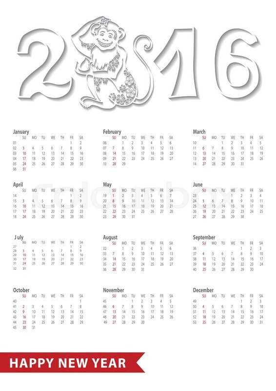 calendar 2016 with monkeynumberschinese zodiac in modern flat stylesignsymbolliinear iconlong shadownew year holiday vector red background - Chinese New Year 2016 Calendar