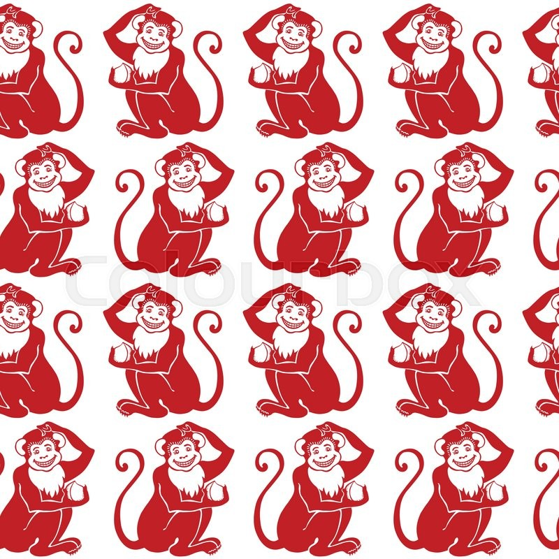 translation symbol of 2016 year signlinear iconisolated shapelogomonkey holding peachnew year holiday vector wrapwallpaper vector - Chinese New Year Sign