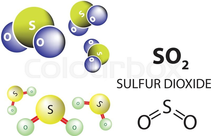 Sulfur Dioxide Molecule Chemical Structure Stock Vector Colourbox