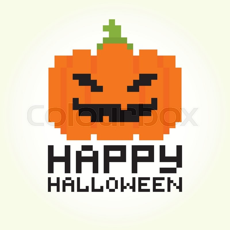 Happy halloween pixel art pumpkin vector image | Stock Vector ...