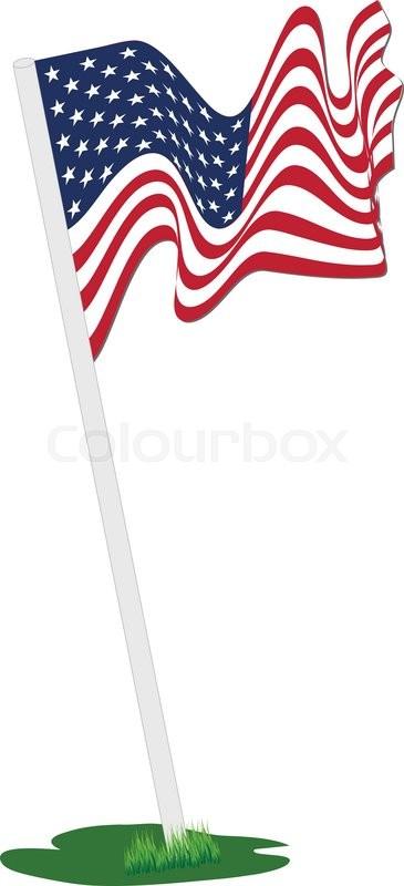 c149d37b8e9 Waving American flag pole