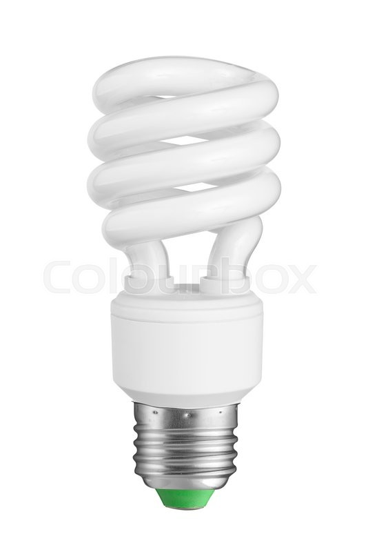 Efficient Compact Fluorescent Light Bulb Isolated On White Stock Photo Colourbox