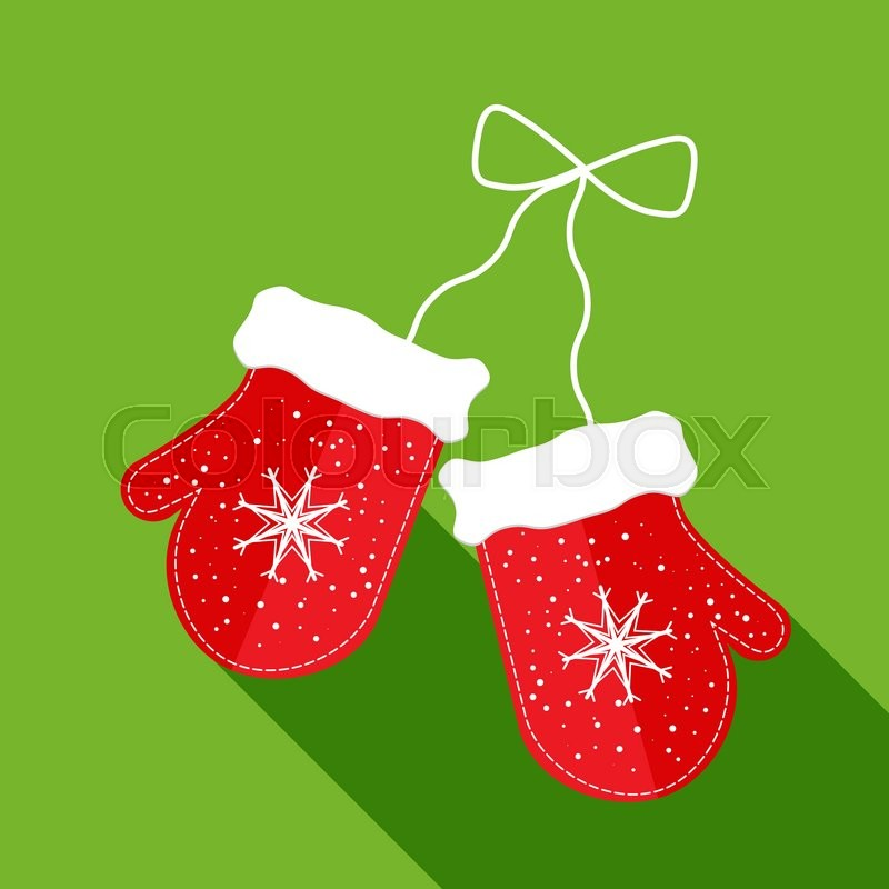 pair of christmas mittens on green background stock vector colourbox - Christmas Mittens