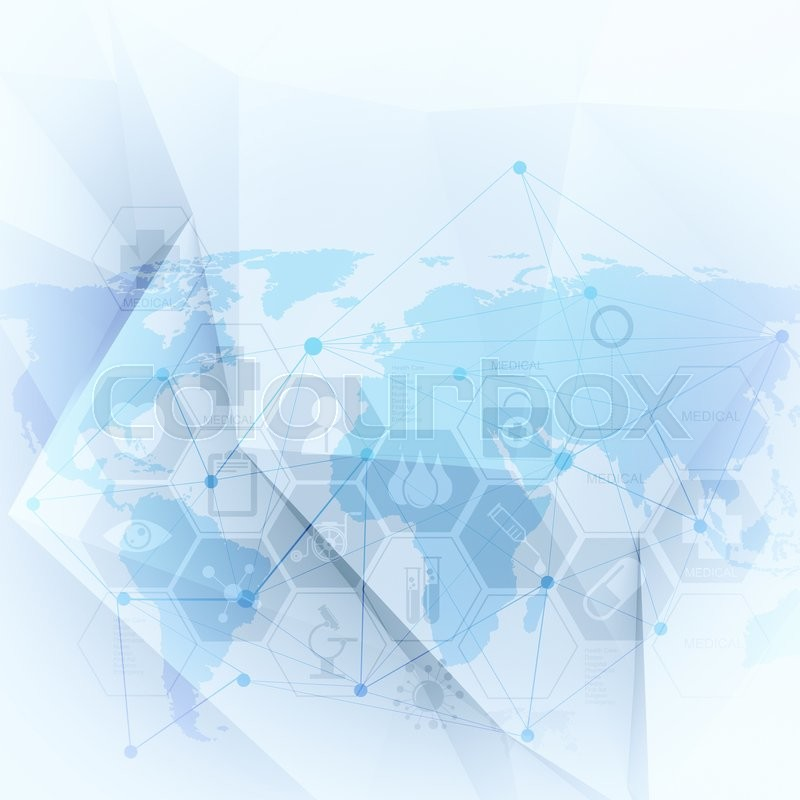 Abstract molecules low poly medical background, stock photo