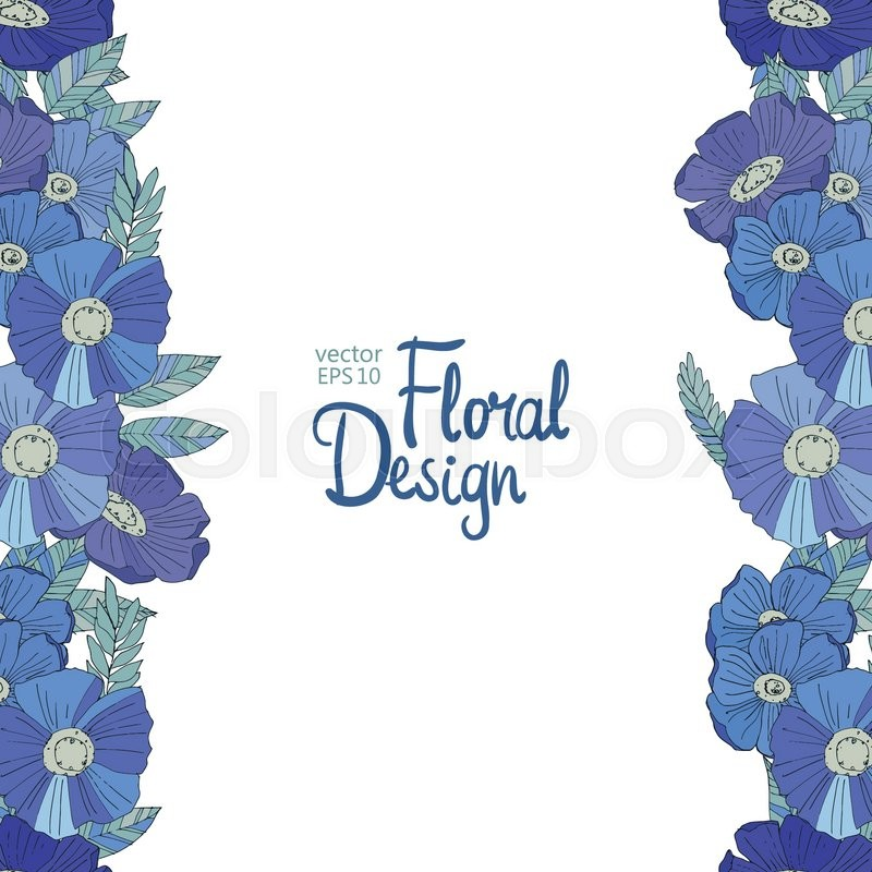 Seamless Floral Border Made With Blue Watercolor Wildflowers Design
