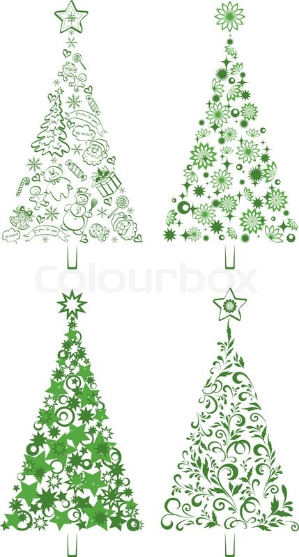 Set Christmas Holiday Trees With Patterns Of The Silhouettes Cartoon Figures And Symbols Floral Ornaments On White Background