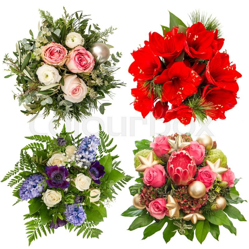 Flowers bouquet for Christmas and New Year holidays. Roses ...