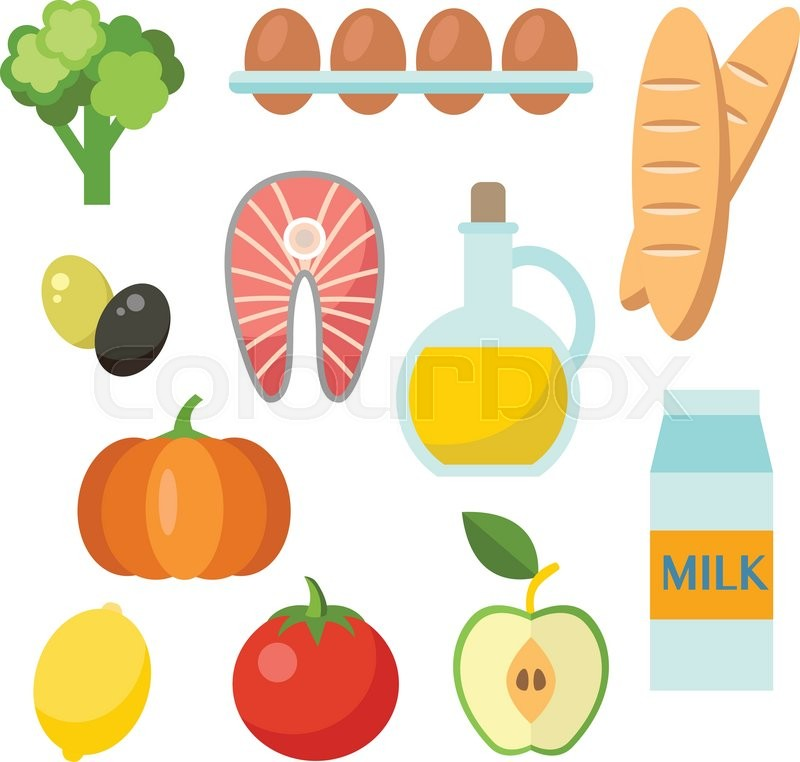 vector healthy food icons set in flat style organic products rh colourbox com victor food pantry victor food