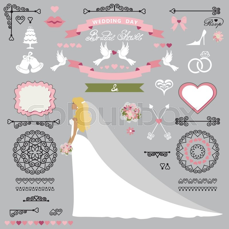 cartoon bride in long dress swirling borders brushes and ribbon wreathiconsheart labeldesign template kitsave date cardvintage vector illustration