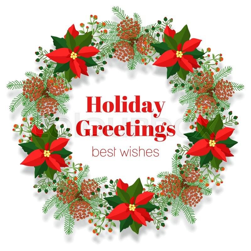 Christmas wreath traditional ornament for winter holidays traditional ornament for winter holidays invitation card stock vector colourbox m4hsunfo