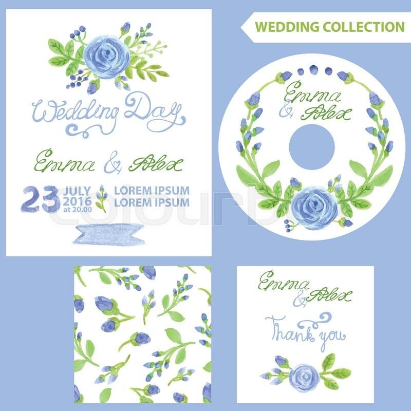 Wedding invitation design template setwatercolor blue flowersbud stock vector of wedding invitation design template setwatercolor blue flowersbud stopboris Images