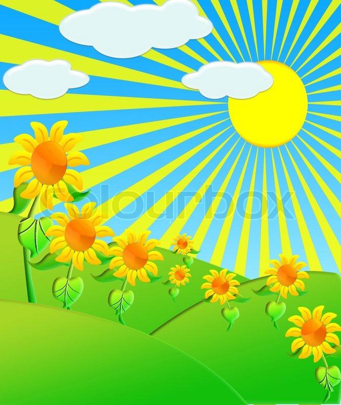 The Illustration Sunflowers On Meadow Under Bright Sun