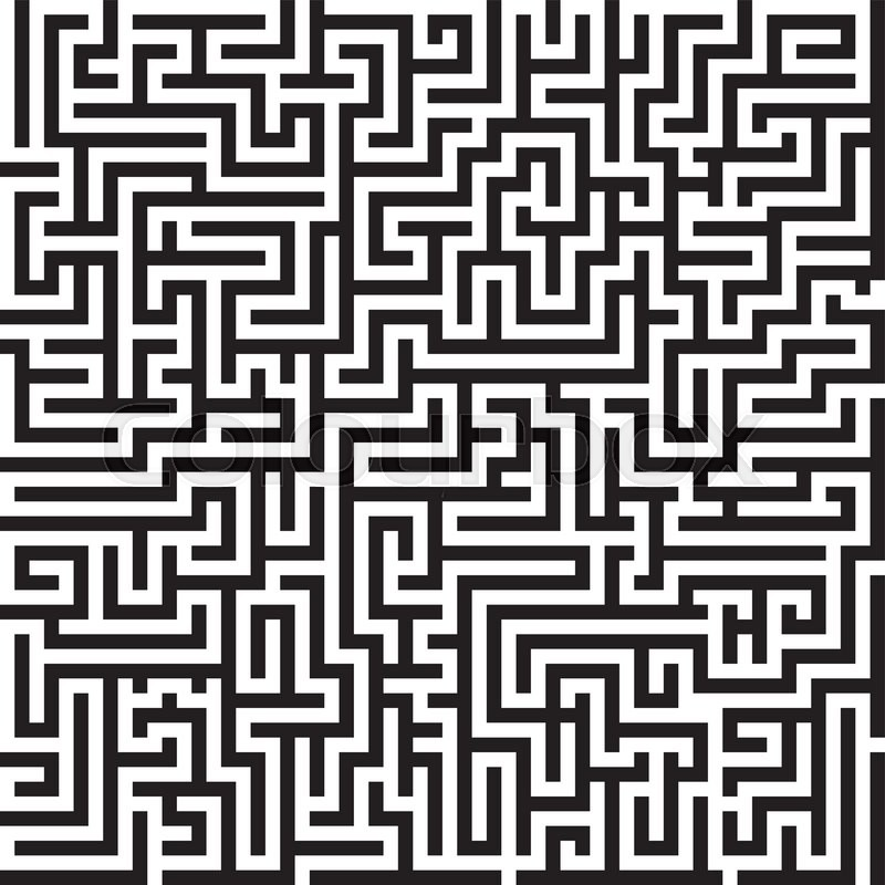 Maze Graphic Black And White Seamless Vector Pattern Stock Vector Classy Labyrinth Pattern