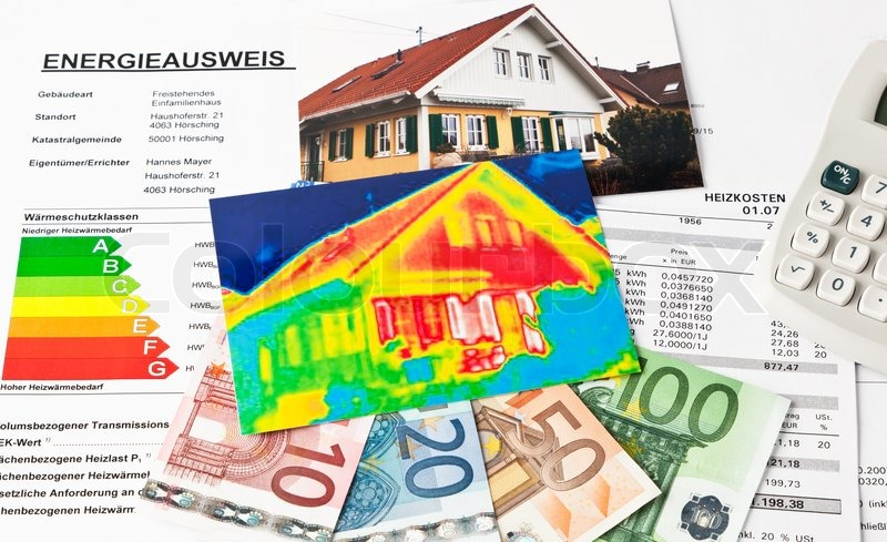 Saving energy through thermal insulation. House with thermal imaging camera photographed, stock photo