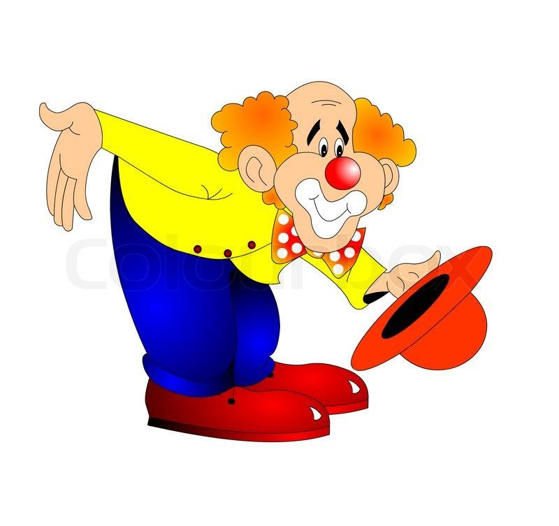 die lustige clown hat den bogen auf wei en isoliert ist stockfoto colourbox. Black Bedroom Furniture Sets. Home Design Ideas