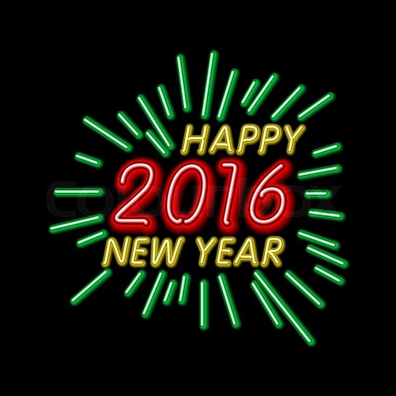 vector illustration of 2016 new year outline neon light background for design website banner