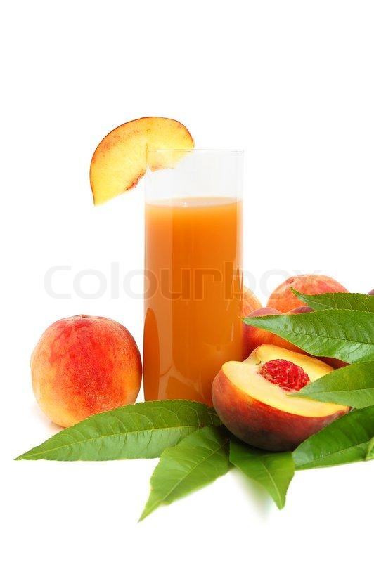 White Peach Juice Peach juice and leaves on