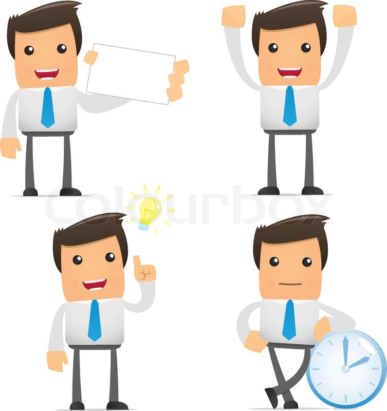 Stock vector of 'Set of funny cartoon office worker in various poses for use in presentations, etc.'