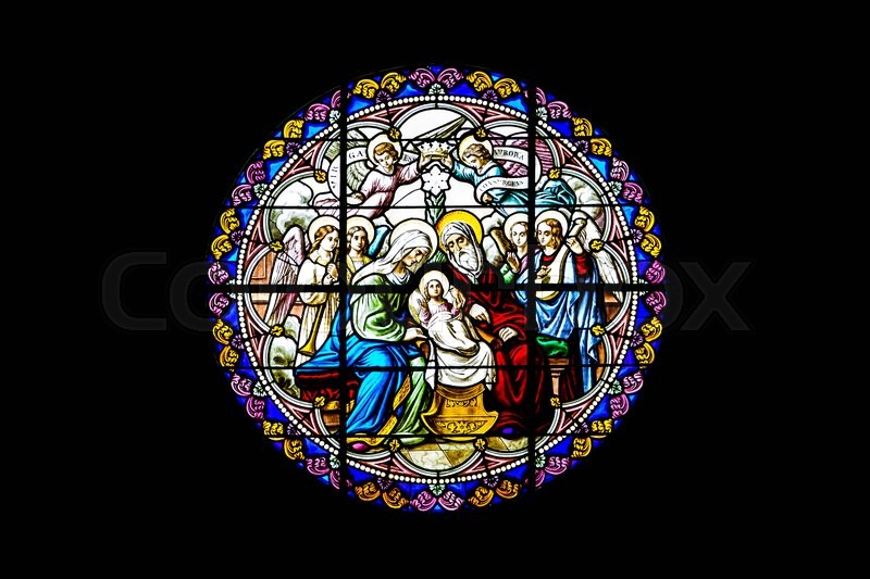 Glass Stained Scene Window Jesus Manger Painting Bethlehem Joseph Birth Church Cathedral Nativity Leaded Mother Mary Maria Christmas