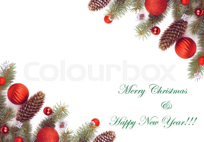 christmas greeting card with two corner borders of spruce branch fir cones red baubles and silver gift boxes with inscription isolated on white background