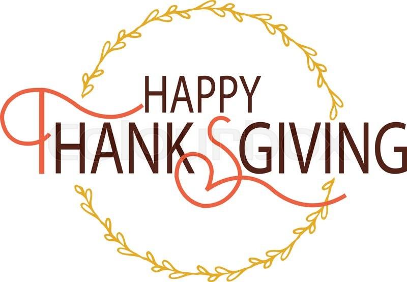 Flat Design Style Happy Thanksgiving Day Logotype Badge