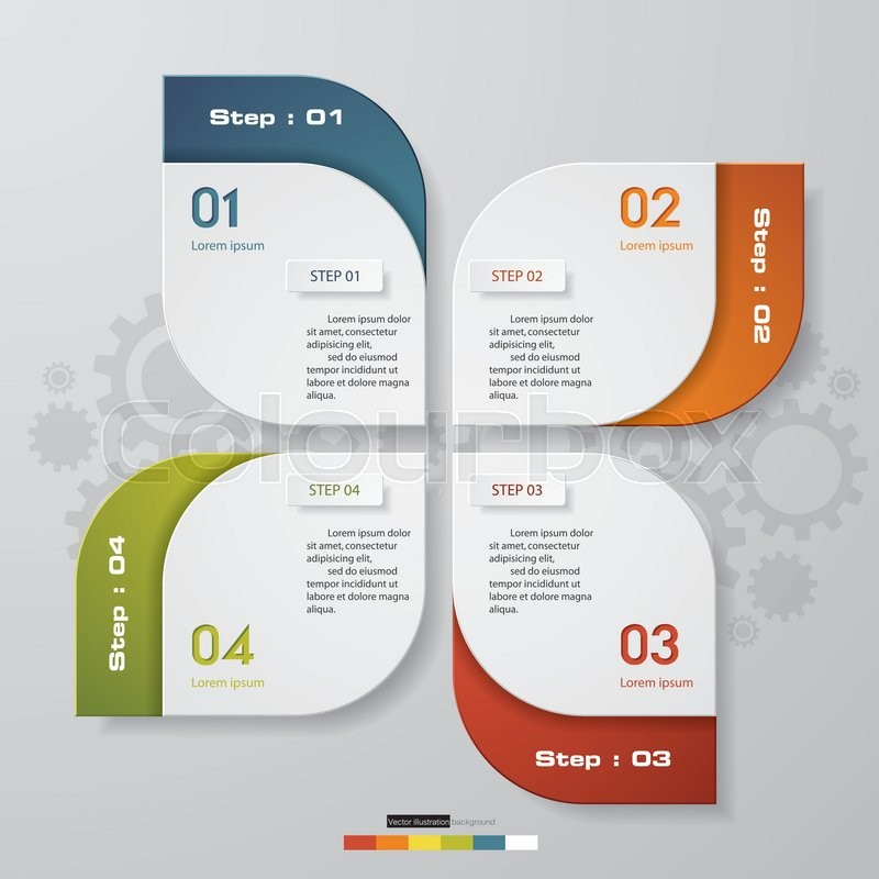 4 steps chart layout for sample text&data. Design clean template ...