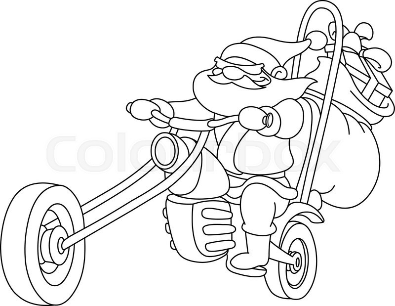 outlined santa on a motorcycle vector illustration coloring page vector