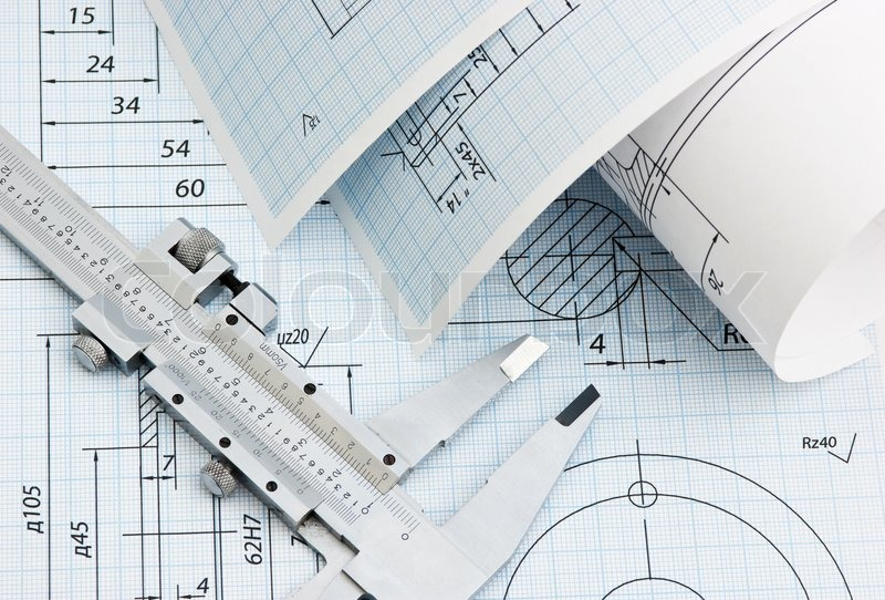 Twisted technical drawing and callipers, stock photo