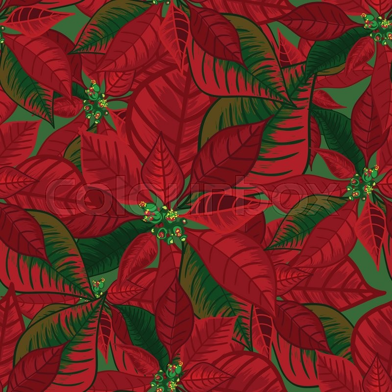 Abstract texture with poinsettia. Seamless pattern with Christmas ...