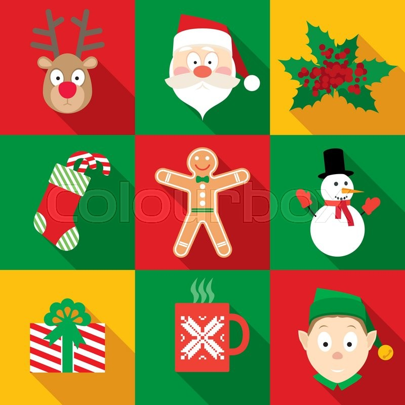 Christmas Symbols Set In Flat Style With Long Shadows Stock Vector